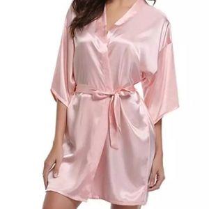 *On Order* Pastel Satin Pink sexy Kimono robe